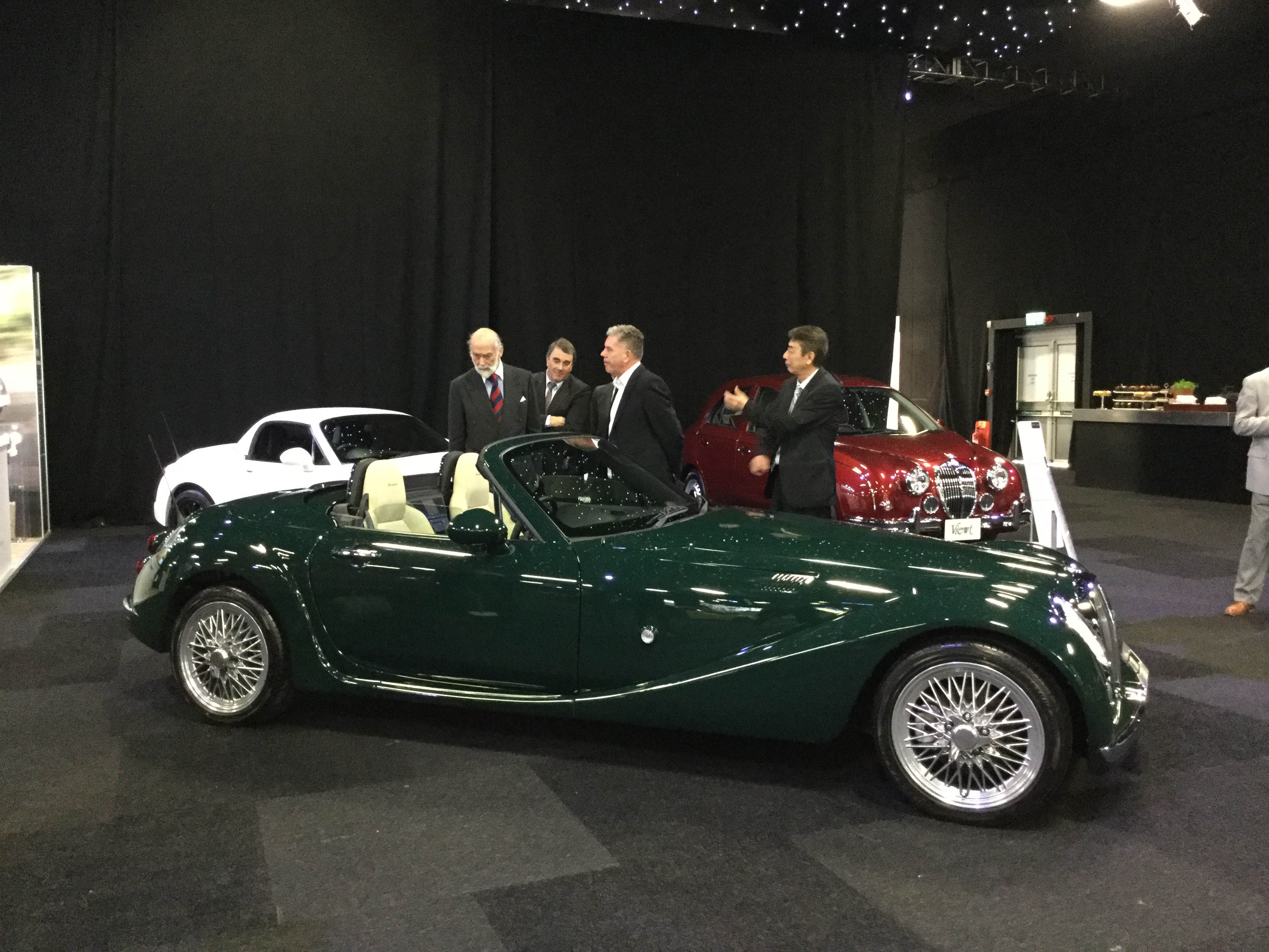 The Prince Michael of Kent talking about the Mitsuoka at the London Motor Show